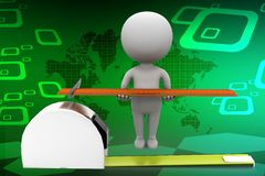 3d man with measuring scale and tape illustration Royalty Free Stock Images