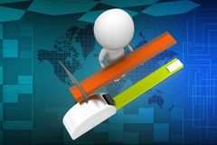 3d man with measuring scale and tape illustration Royalty Free Stock Image
