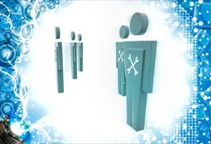 3d man with mechanical wrench symbol on  them illustration Royalty Free Stock Photography