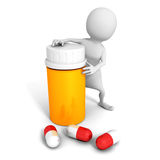 3d man with medical pills and orange bottle Stock Photos