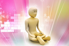 3d man in meditation Stock Images
