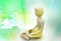 3d man in meditation Royalty Free Stock Photo