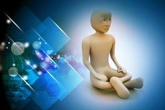 3d man in meditation Royalty Free Stock Image