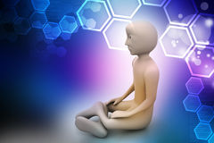 3d man in meditation Royalty Free Stock Photo