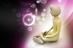 3d man in meditation Royalty Free Stock Photos