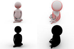 3d man meditation concept collections with alpha and shadow channel Stock Photos