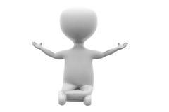 3d man meditation concept Stock Image