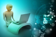3d man in meditation with laptop Royalty Free Stock Photos
