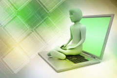 3d man in meditation with laptop. In color background Stock Photos