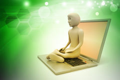3d man in meditation with laptop. In color background Stock Image