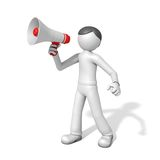 3d man with a megaphone. Isolated on a white background Royalty Free Stock Photography