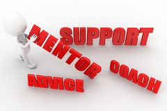 3d man mentor support coach advice Stock Photography