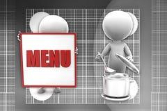3d man menu illustration Stock Photos