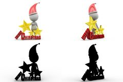 3d man merry christmas concept collections with alpha and shadow channel Royalty Free Stock Images