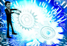 3d man with metalic mechanical cogwheel illustration Royalty Free Stock Image