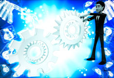 3d man with metalic mechanical cogwheel illustration Royalty Free Stock Photo