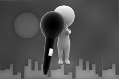 3d man with mic illustration Royalty Free Stock Image