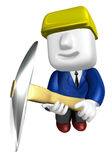 3d man miner with hardhat and pickaxe on white background. 3D Sq Royalty Free Stock Photo