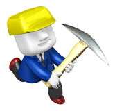 3d man miner with hardhat and pickaxe on white background. 3D Sq Stock Photo