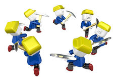 3d man miner with hardhat and pickaxe on white background. 3D Sq Stock Images