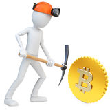 3d man miner mining golden Bitcoin Royalty Free Stock Photo