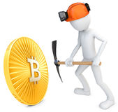 3d man miner mining golden Bitcoin. Coin on white background Royalty Free Stock Image