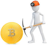3d man miner mining golden Bitcoin Royalty Free Stock Photography