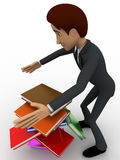 3d man mis handling the books hold in hand concept Royalty Free Stock Images