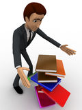 3d man mis handling the books hold in hand concept Royalty Free Stock Photo
