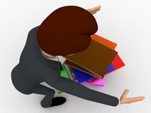 3d man mis handling the books hold in hand concept Royalty Free Stock Image