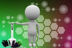 3d man with mixer with grape illustration Royalty Free Stock Images