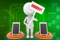 3d man with mobile connect illustration Stock Images