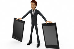 3d man with mobile phone concept Royalty Free Stock Photos