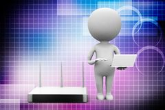 3d man with modem router and laptop illustration Royalty Free Stock Photos