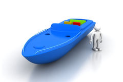 3d man with modern boat Royalty Free Stock Photo