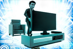 3d man with modern television set illustration Royalty Free Stock Photography