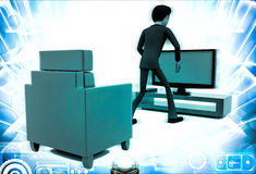 3d man with modern television set illustration Stock Photography