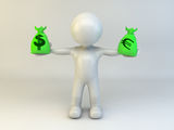 3d man with money bag Stock Images