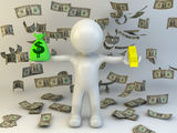 3d man with money bag Royalty Free Stock Image