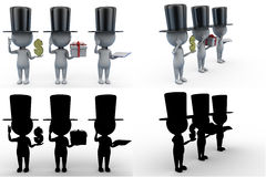 3d man with money and hat concept collections with alpha and shadow channel Stock Image
