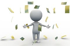 3d man with money papers Stock Photos