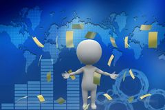3d man with money papers illustration Stock Photos