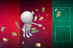 3d man with money papers illustration Royalty Free Stock Photography
