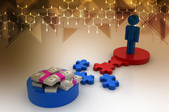 3d man and money with puzzle piece Stock Photography