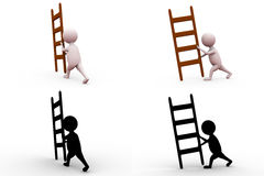 3d man moving ladder concept collections with alpha and shadow channel Stock Image