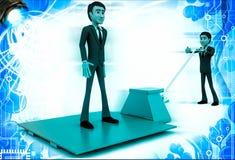 3d man moving other man on blue sheet over red palletizer illustration Stock Image