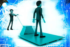 3d man moving other man on blue sheet over red palletizer illustration Stock Photo