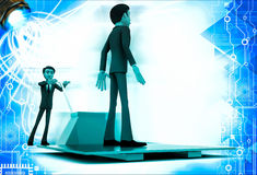3d man moving other man on blue sheet over red palletizer illustration Royalty Free Stock Images