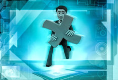 3d man with a multiplication sign illustration Royalty Free Stock Image