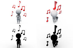 3d man music concept collections with alpha and shadow channel Stock Image